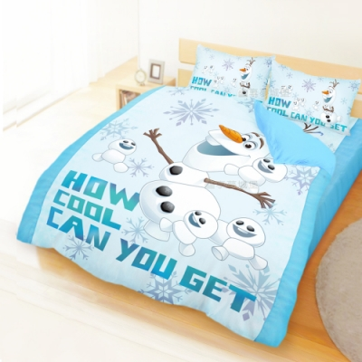 享夢城堡 雙人加大床包薄被套四件組-冰雪奇緣FROZEN 雪寶與小雪人-藍