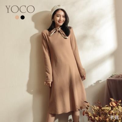 東京著衣-YOCO 浪漫古典蝴蝶結領磨毛洋裝(共二色)