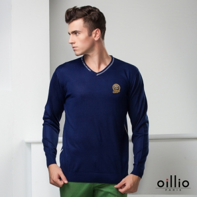 oillio歐洲貴族 長袖V領線衫 舒適天絲棉 抗起球纖維 簡約時尚 藍色