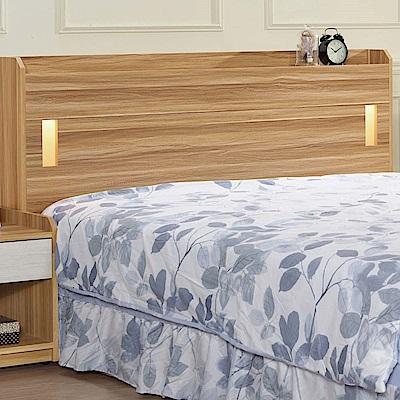 文創集 帕德時尚5尺夜燈雙人床頭片(不含床底)-151.5x15x93cm免組