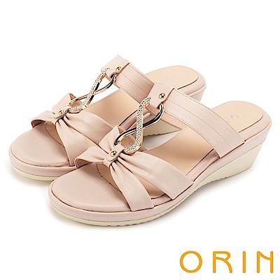 ORIN 迷人耀眼 真皮8字鑽練造型楔型拖鞋-粉色