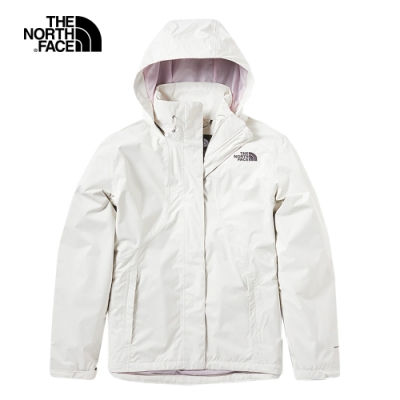 The North Face北面女款米白色防水透氣衝锋衣 3VPR11P