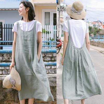 吊帶裙-前後兩穿亞麻長版過膝洋裝-設計所在