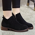 韓國KW美鞋館 (現貨+預購)-特殊材質花邊短靴-黑