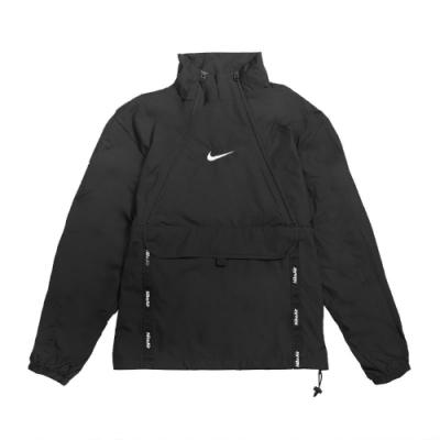Nike T恤 Air Top 長袖 運動休閒 男款 衝鋒衣 防風 穿搭 勾勾 立領 黑 白 CU4119010