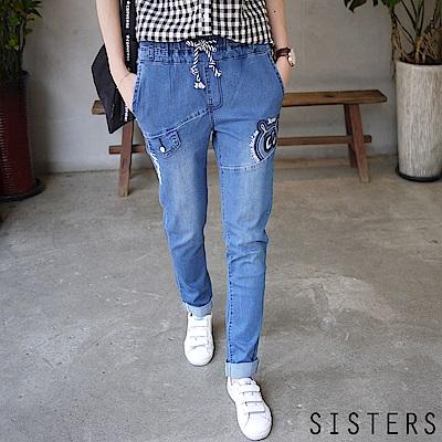 韓系熊貓眼刺繡立體刷色男友風牛仔褲(S-3L)-SISTERS
