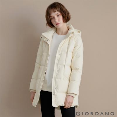 GIORDANO 女裝中長版連帽羽絨外套 - 88 開心果米卡