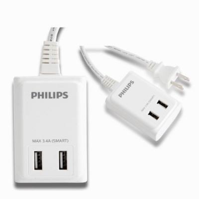 PHILIPS USB智慧快充電源線1.8M (6尺) 白色 SPB1402WA