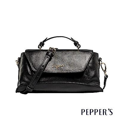 PEPPER`S Sophia 羊皮掀蓋小方包 - 煙燻黑