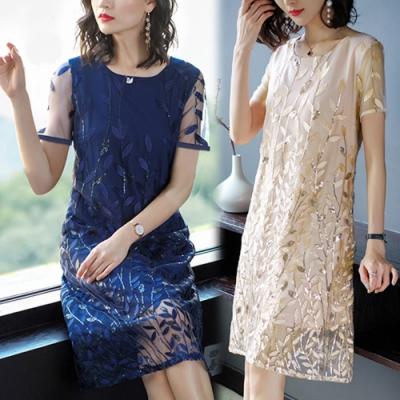【韓國K.W.】(現貨) 桑蠶絲葉片立體設計刺繡洋裝