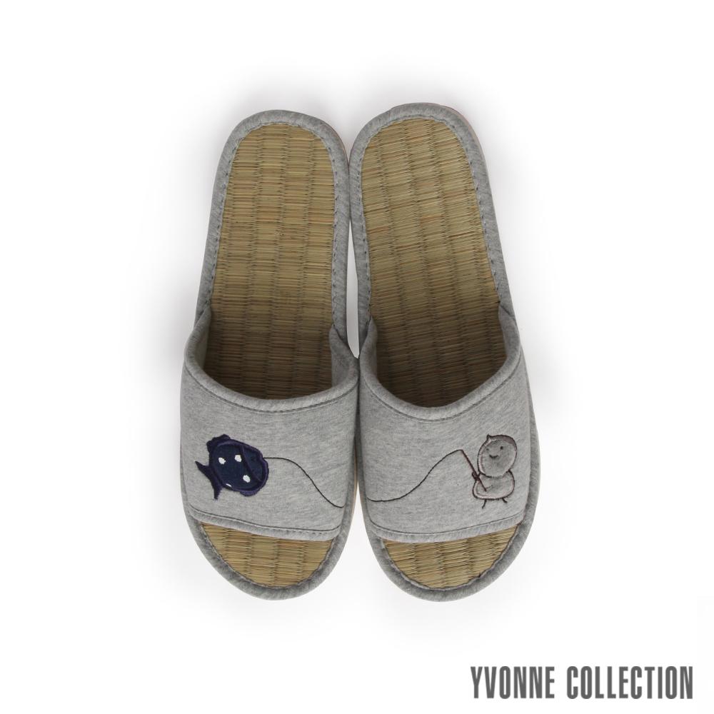Yvonne Collection以旺 娃娃藺草拖鞋-淺灰L