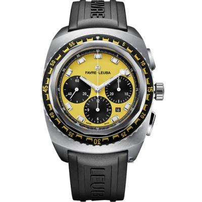 Favre-Leuba域峰表RAIDER系列SEA SKY腕錶-黃x黑膠帶/44mm