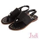 JMS-素面寬版一字帶夾腳平底涼鞋-黑色