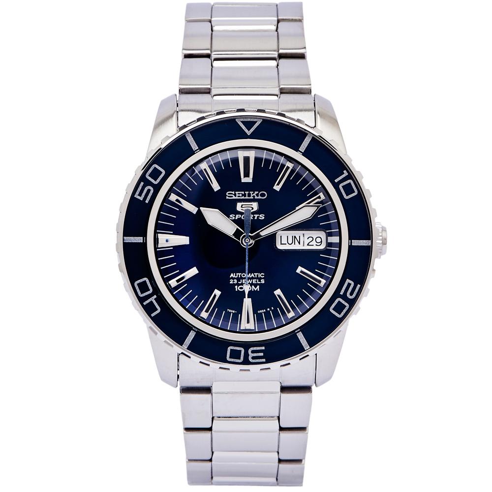 SEIKO 運動盾牌5號機械錶手錶(SNZH53K1)-藍面x銀色/42mm