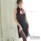 角色扮演服 古典高領透紗性感旗袍。黑色 久慕雅黛