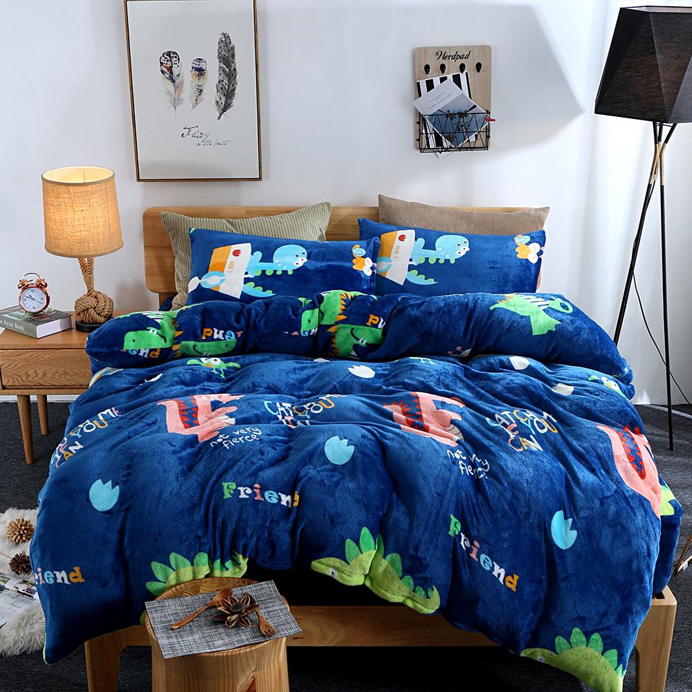生活提案 法蘭絨加大四件式 被套床包組 恐龍園