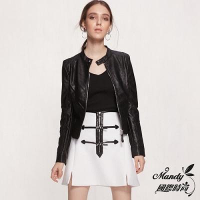 Mandy國際時尚 外套 秋冬 PU皮衣短款修身立領歐美機車皮衣外套