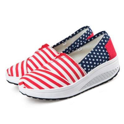 韓國KW美鞋館 學院紅白條控星星健走鞋-紅