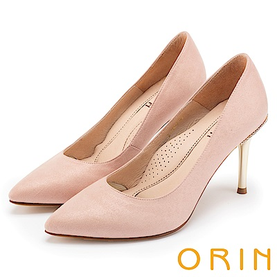 ORIN 性感名媛 素面尖頭金屬高跟鞋-粉色