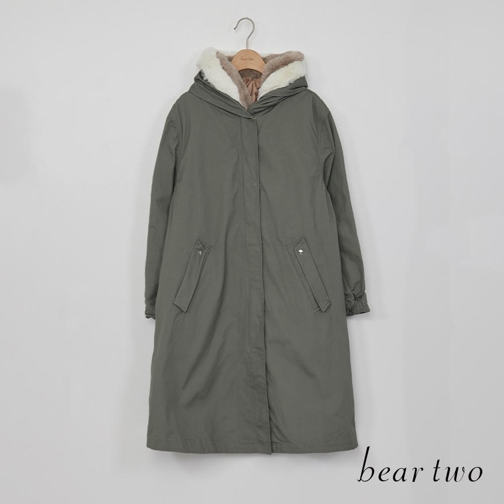 beartwo 文字連帽鋪棉大衣-綠