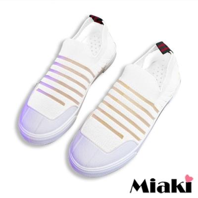 Miaki-休閒鞋時尚飛織平底懶人鞋-白