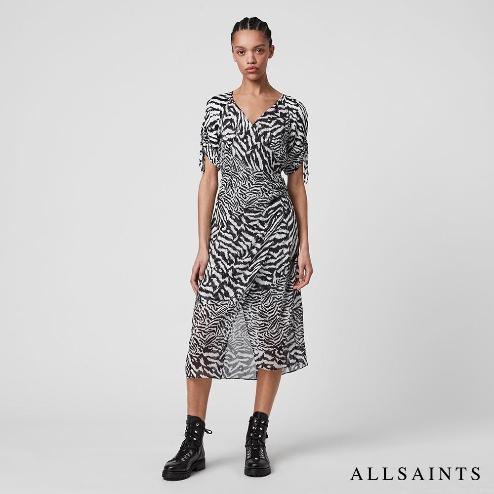 ALLSAINTS CARLA 斑馬紋印花短袖抽繩中長版連身裙洋裝-白