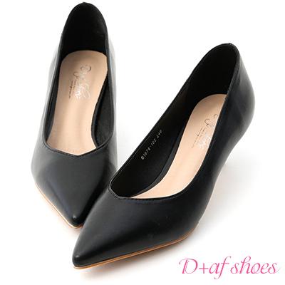 D+AF 典雅春氛.素面尖頭小V口中跟鞋*黑