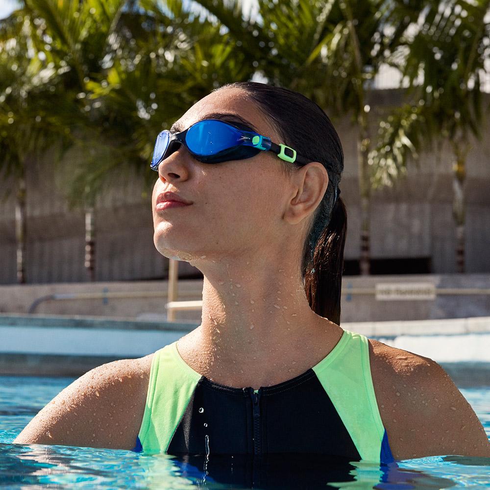 SPEEDO 成人運動鏡面泳鏡 V-class 黑/藍 @ Y!購物
