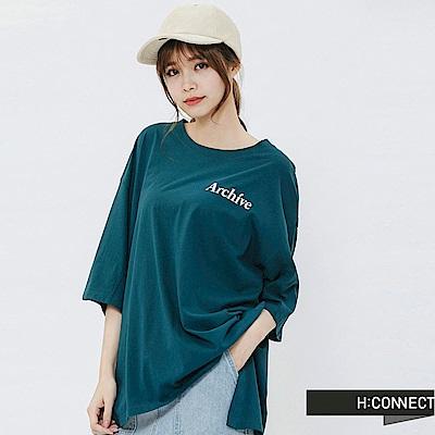 H:CONNECT 韓國品牌 女裝-後印字鈕扣設計T-shirt-藍綠色