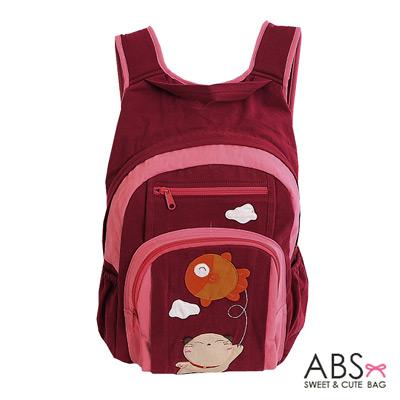 ABS貝斯貓 Fish&Cat 拼布雙肩後背包(暗藏紅)88-168