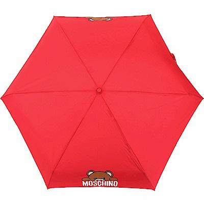 MOSCHINO Supermini 泰迪熊躲貓貓圖案摺疊晴雨傘(紅色)