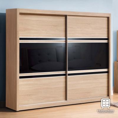 漢妮Hampton依爾莎系列黑玻5X7尺衣櫥-150.5x61x197cm
