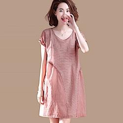初色  拼接條紋連衣裙-紅條紋-(M-2XL可選)
