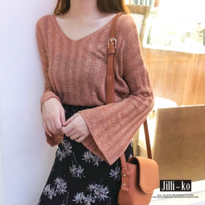 JILLI-KO 韓版chic風格寬鬆喇叭袖針織上衣- 白/橘