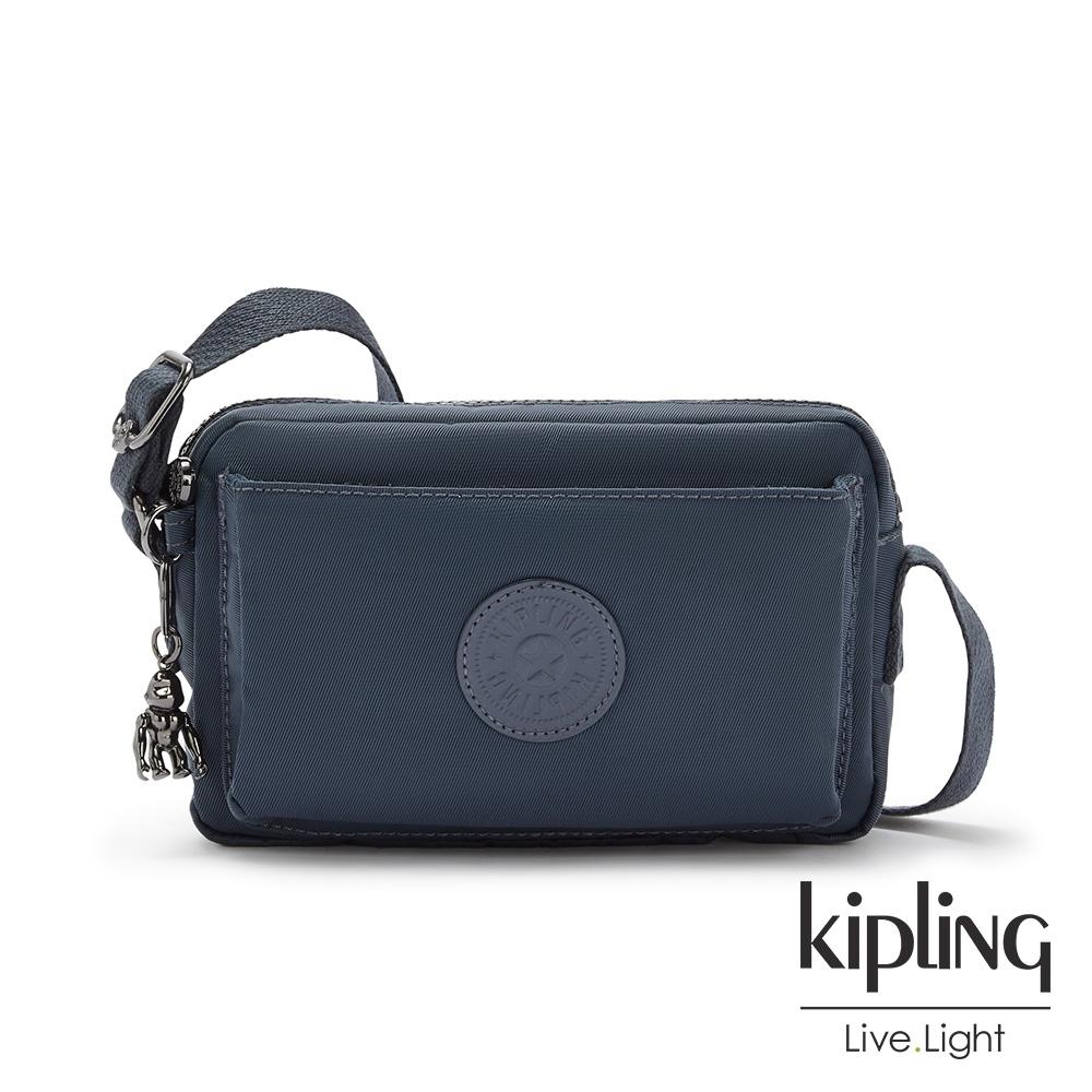 Kipling 質感都市藍灰色前後加寬收納側背包-ABANU