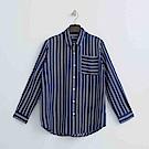 Hang Ten - 女裝 - 簡約知性條紋襯衫-藍色