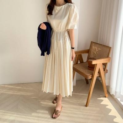 2F韓衣-簡約素色優雅收腰造型洋裝-3色(F)