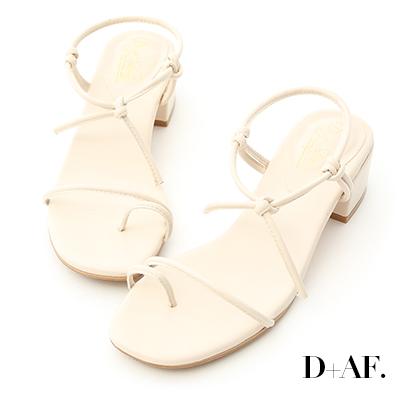 D+AF 夏日清新.一字細帶綁結低跟涼鞋*米