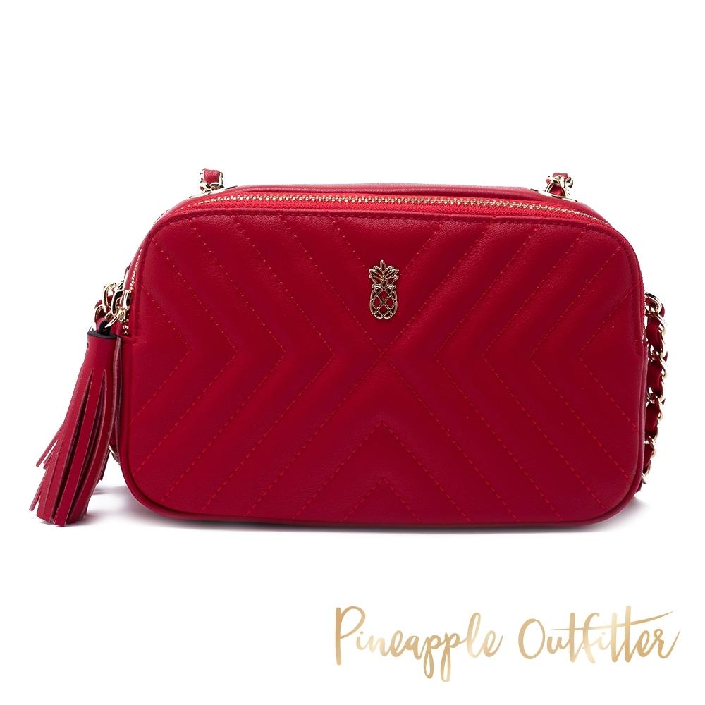 Pineapple Outfitter 熱銷推薦 真皮小香風V形紋鍊帶包-紅色
