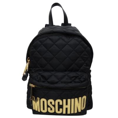 MOSCHINO尼龍菱格紋小款金字LOGO後背包(黑色)