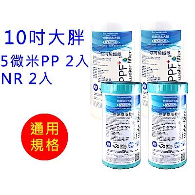怡康 10吋大胖標準5微米PP濾心2支 10吋大胖標準水垢抑制軟水濾心2支