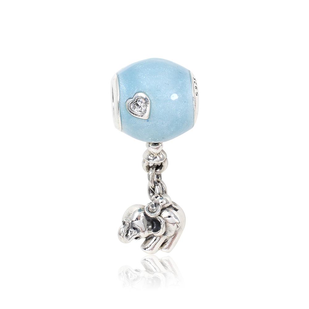 Pandora 潘朵拉 藍色氣球小象鑲鋯 垂墜純銀墜飾 串珠