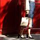 【IBAOBAO愛包包】ADOLE-ADay皮革斜背包/米帆布包+紅色提把 product thumbnail 1