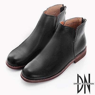 DN 英倫時尚 雙側V口擦色牛皮短靴-黑