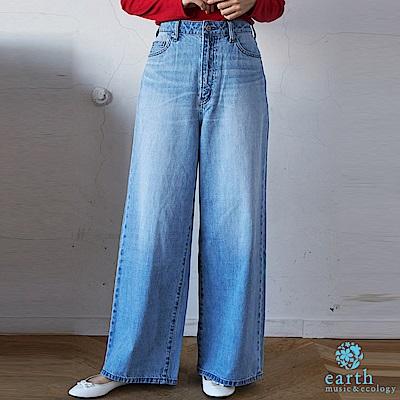 earth music 美國棉刷色寬擺牛仔褲