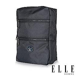 ELLE 巴黎輕旅商務雙層拉鍊單肩側背包-深藍色