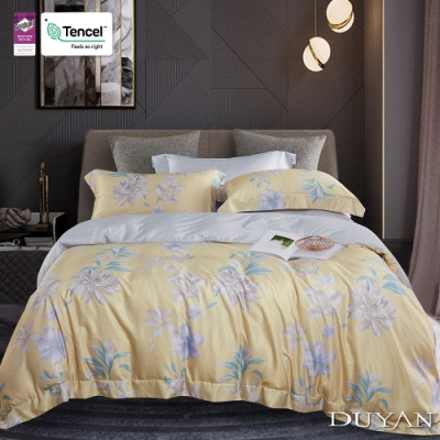 DUYAN竹漾-3M吸濕排汗奧地利天絲-雙人床包被套四件組- 金色和弦
