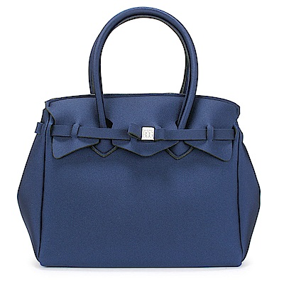 SAVE MY BAG Miss金屬光系列簡約輕量防水托特包-深藍色