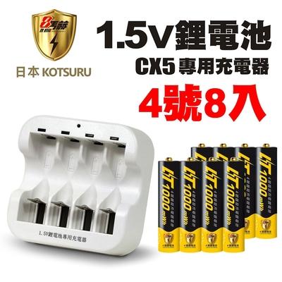【日本KOTSURU】8馬赫4號/AAA恆壓可充式1.5V鋰電池8入+CX5專用充電器