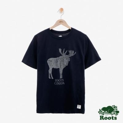 男裝Roots 經典動物系列短袖T恤-藍